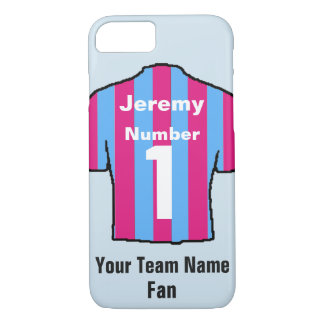 Claret & Blue Football Shirt Customise name & team iPhone 8/7 Case