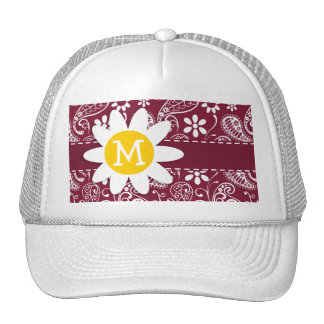 Claret Paisley; Floral; Daisy Trucker Hat