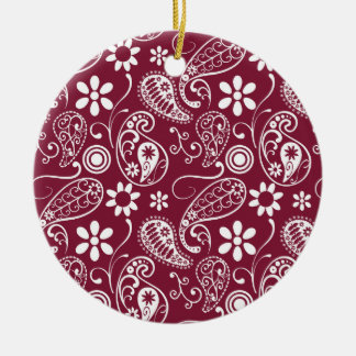 Claret Paisley; Floral Double-Sided Ceramic Round Christmas Ornament