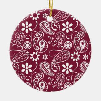 Claret Paisley; Floral Round Ceramic Decoration