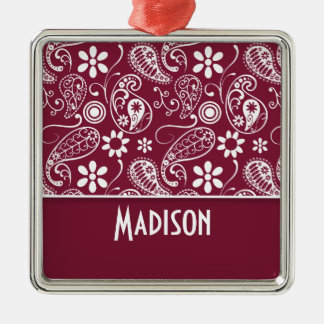 Claret Paisley; Personalized Square Metal Christmas Ornament