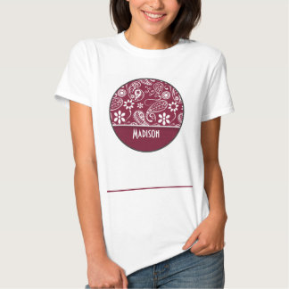 Claret Paisley; Personalized T-shirt