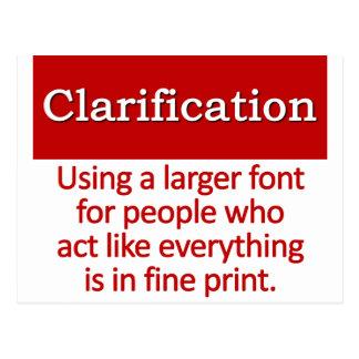Clarification Definition Postcard
