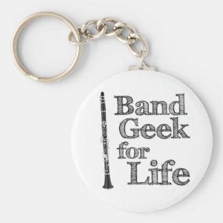 Clarinet Band Geek Basic Round Button Key Ring