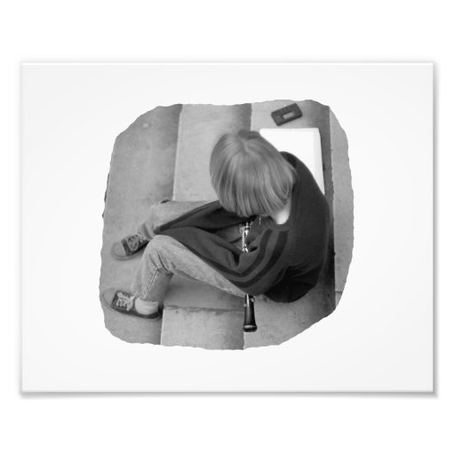 Clarinet Girl Player Steps with Tuner and Music Art Photo