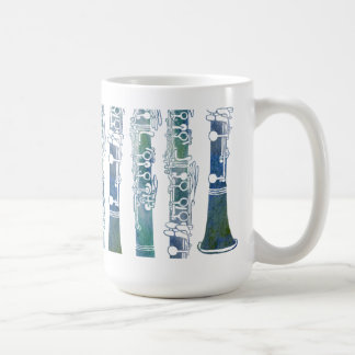 Clarinet Keys in Green Basic White Mug