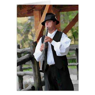 Clarinet Man in the farm Card