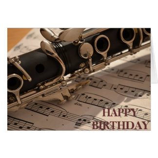 Clarinet musical instrument birthday note card