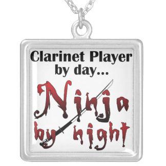 Clarinet Ninja Square Pendant Necklace
