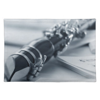 Clarinet on Music Sheets Placemats