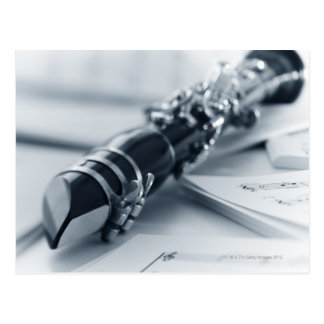 Clarinet on Music Sheets Postcard
