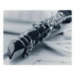 Clarinet on Music Sheets Poster
