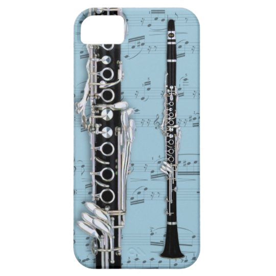 Clarinet & sheet music phone case. Pick colour