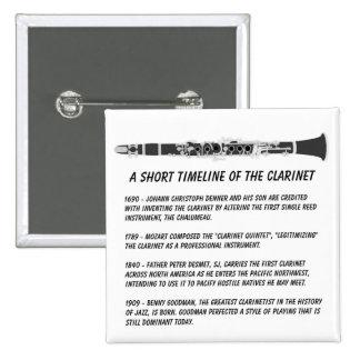 Clarinet Timeline 15 Cm Square Badge