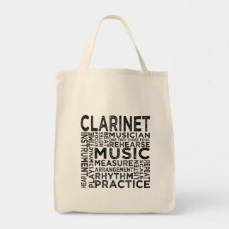 Clarinet Typography Tote Bag