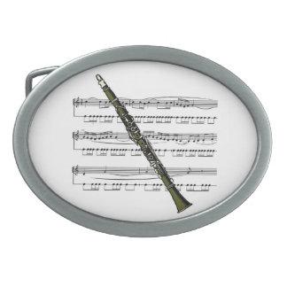 Clarinet w/Sheet Music Background ~ Belt Buckle