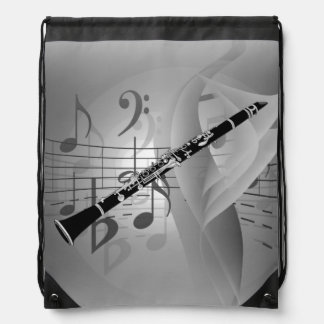 Clarinet with Musical Accents Drawstring Bag