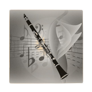 Clarinet with Musical Accents Maple Wood Coaster
