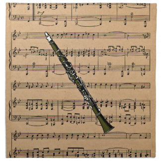 Clarinet With Sheet Music Background Cloth Napkins