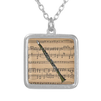Clarinet With Sheet Music Background Silver Plated Necklace