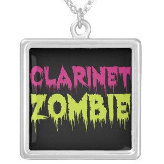 Clarinet Zombie Square Pendant Necklace