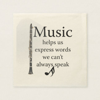 Clarinets Music Helps Us Express Words Kitchen Disposable Serviette