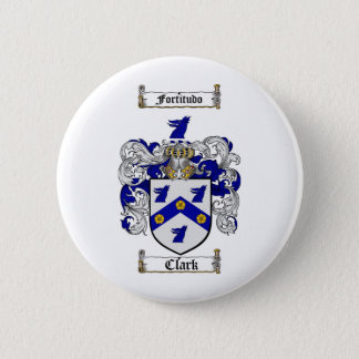 CLARK FAMILY CREST -  CLARK COAT OF ARMS 6 CM ROUND BADGE