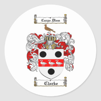 CLARKE FAMILY CREST -  CLARKE COAT OF ARMS CLASSIC ROUND STICKER