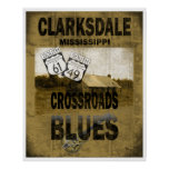 Clarksdale Mississippi Crossroads Blues Guitar Poster