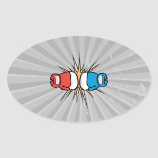 clashing boxing gloves oval sticker