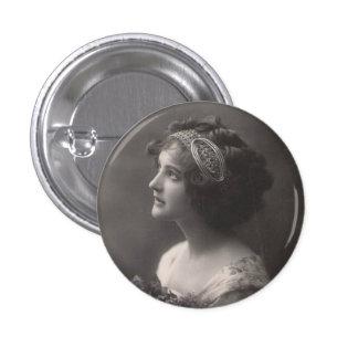 Clasp plates vintage lady 3 cm round badge