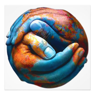 Clasped Hands Forming Planet Earth World Peace Photo