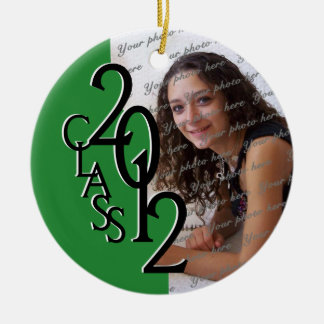 Class 2012 Graduation Photo Green Round Ceramic Decoration
