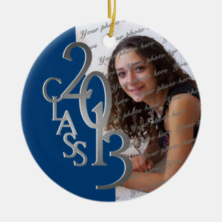 Class 2013 Graduation Photo Blue and Silver Round Ceramic Decoration