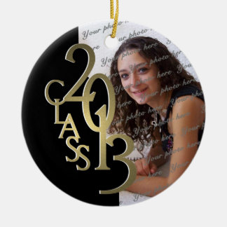 Class 2013 Graduation Photo Gold and Black Round Ceramic Decoration