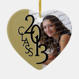 Class 2013 Graduation Photo Gold Ceramic Heart Decoration