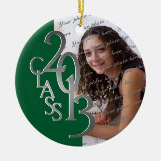 Class 2013 Graduation Photo Green and Silver Round Ceramic Decoration