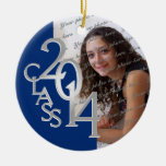 Class 2014 Graduation Photo Blue Silver Ornament