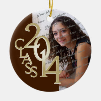 Class 2014 Graduation Photo Brown and Gold Round Ceramic Decoration