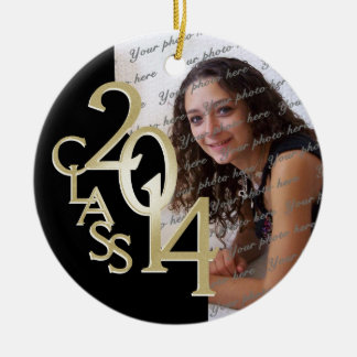 Class 2014 Graduation Photo Gold Christmas Ornaments