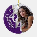 Class 2014 Graduation Photo Purple and Silver Christmas Tree Ornament