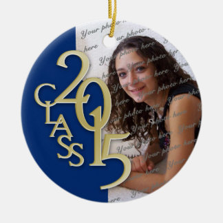 Class 2015 Graduation Photo Blue and Gold Round Ceramic Decoration