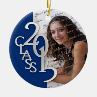 Class 2015 Graduation Photo Blue and Silver Round Ceramic Decoration