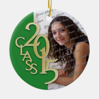 Class 2015 Graduation Photo Green and Gold Round Ceramic Decoration