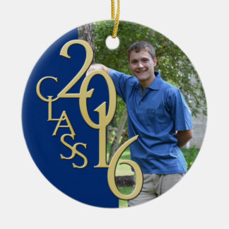 Class 2016 Blue and Gold Graduate Photo Round Ceramic Decoration