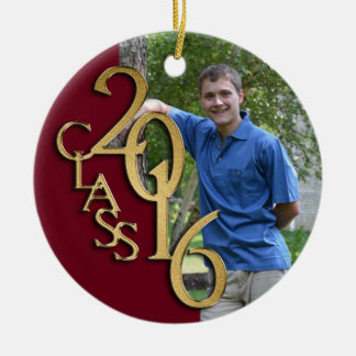 Class 2016 Burgundy and Gold Graduate Photo Round Ceramic Decoration