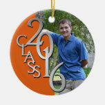 Class 2016 Orange and Silver Graduate Photo Round Ceramic Decoration
