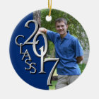 Class 2017 Blue and Silver Graduate Photo Christmas Ornament