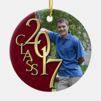 Class 2017 Burgundy and Gold Graduate Photo Christmas Ornament