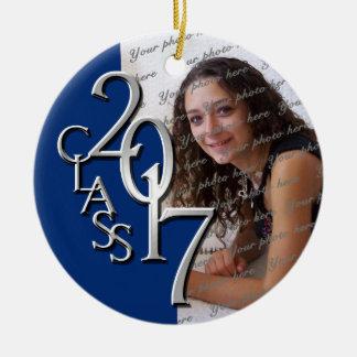 Class 2017 Graduation Photo Blue and Silver Christmas Ornament